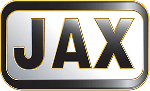 Jax Logo Black with yellow outline on a white background f the letters J, A, X